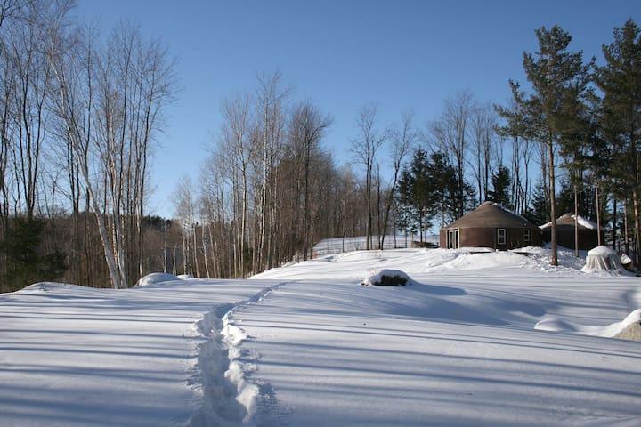 Yurt style dwelling with heated floor