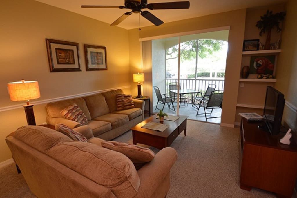 LCD cable TV, ceiling fan and a queen sleeper sofa bed