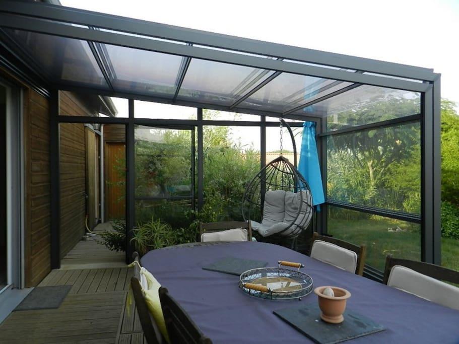Terrasse avec abri télescopique 32 m2