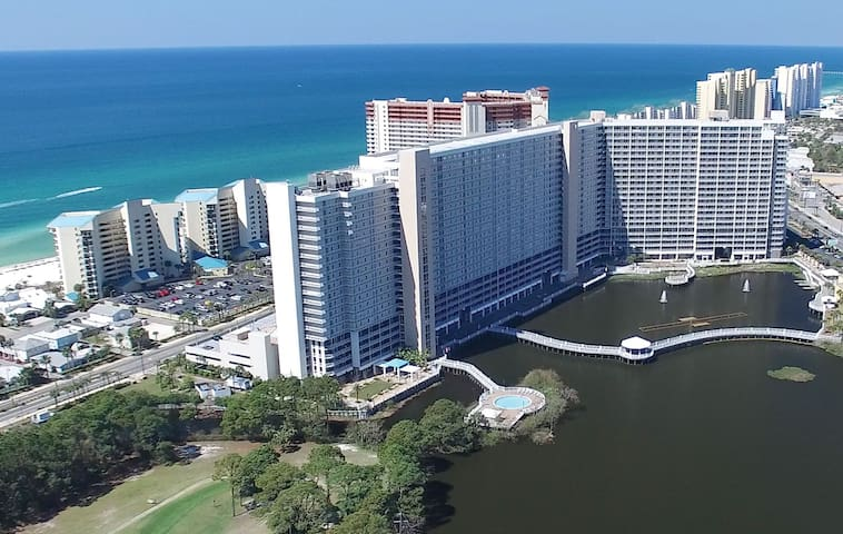 Our Condo from the Air - Enjoy the Gulf view with us