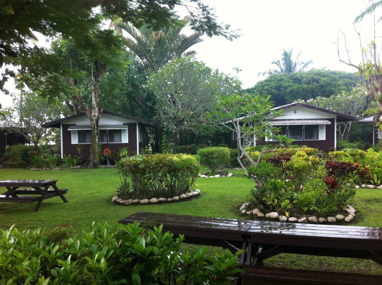 Relax in our garden cottages right by the beautiful Vaiala Beach