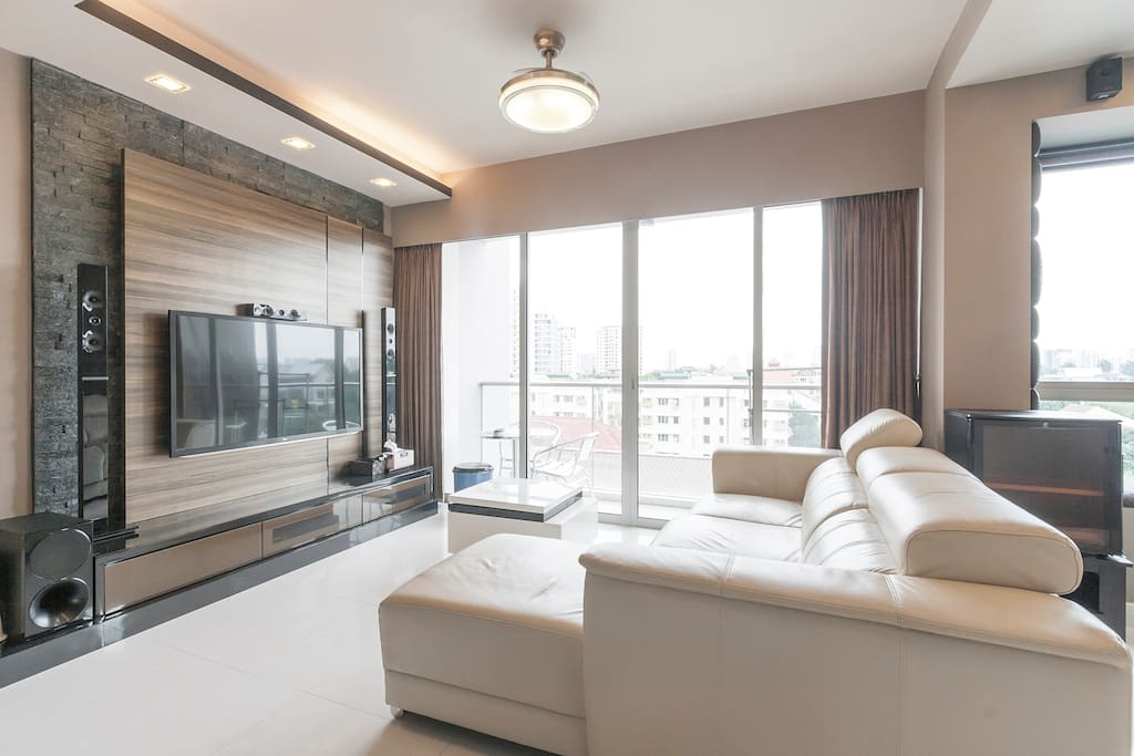 """Living Room and Balcony with 55"""" Full HD LED TV and Blue Ray Hifi System"""