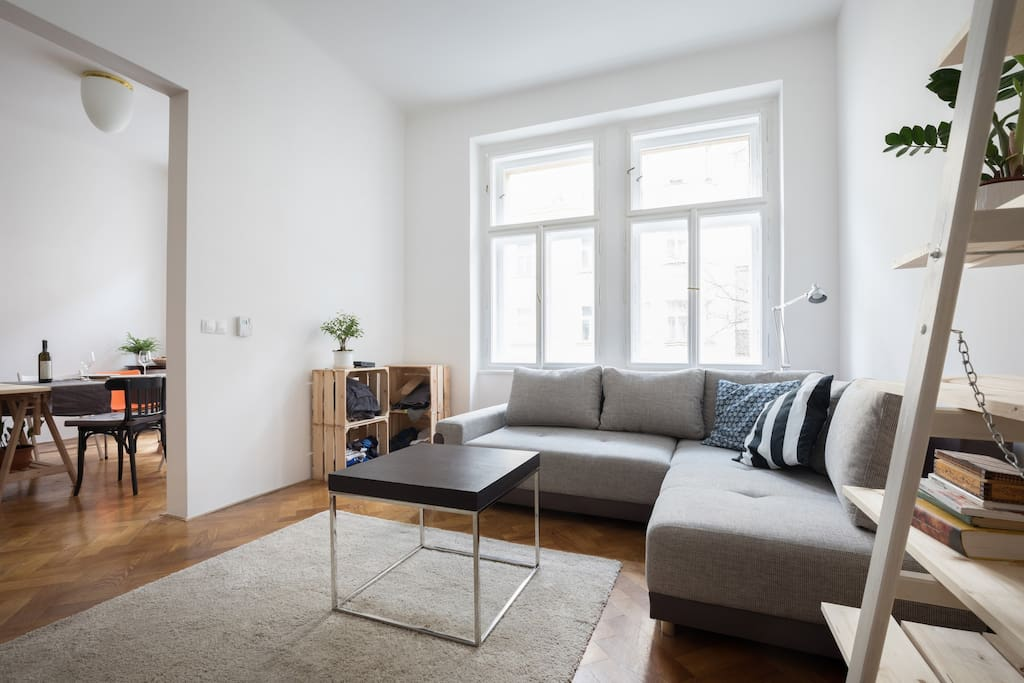 Living room, great wooden floor in whole apartment!