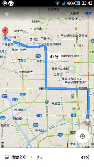 Map of transportation. From JR Kyoto station to FUKUOJI.