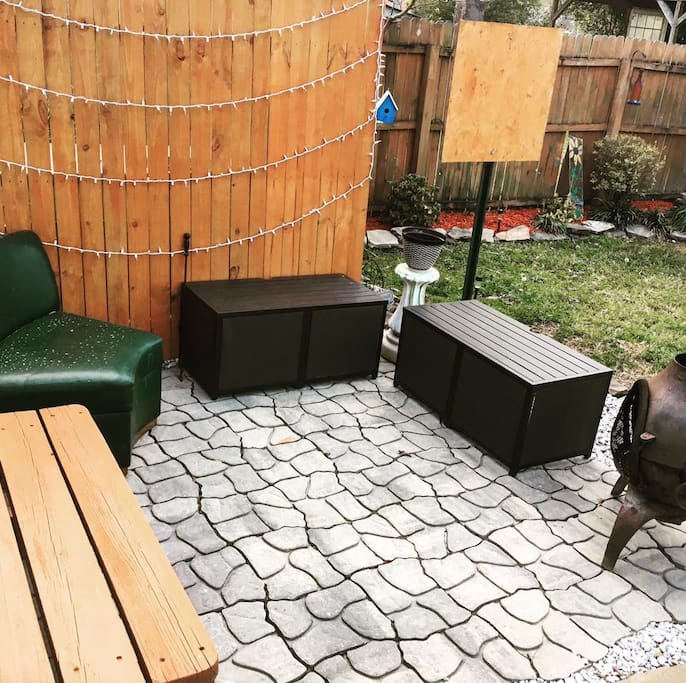 Patio with fire-pit and darts