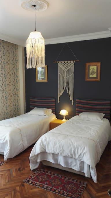 房间很大,可以根据客人需要调整为三人房,也可以调整为一张大床房。