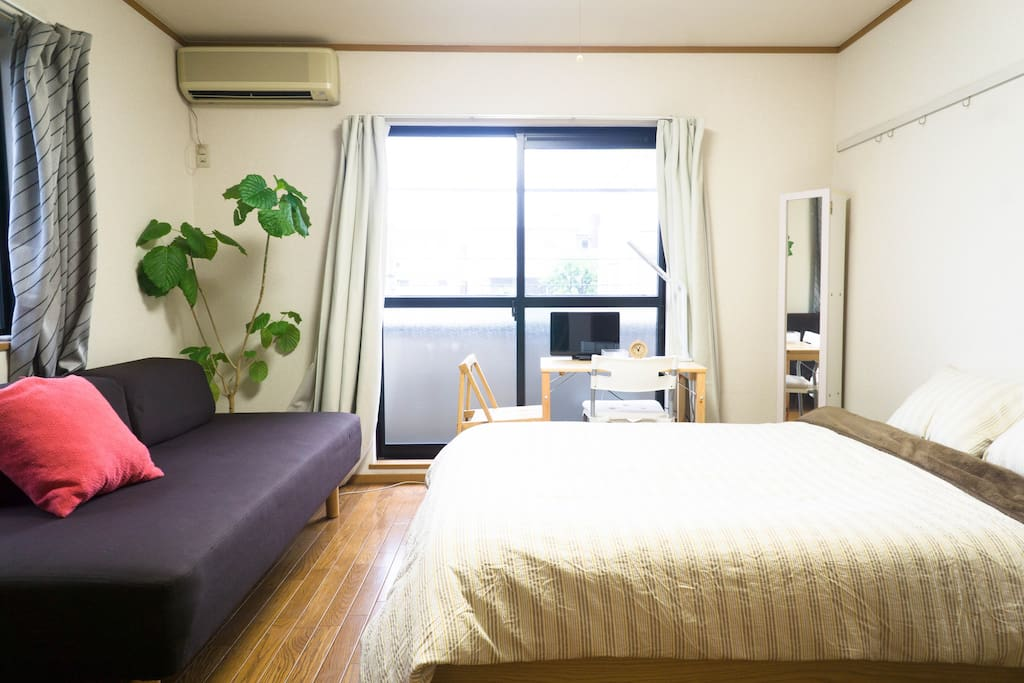 A comfortable studio apartment.