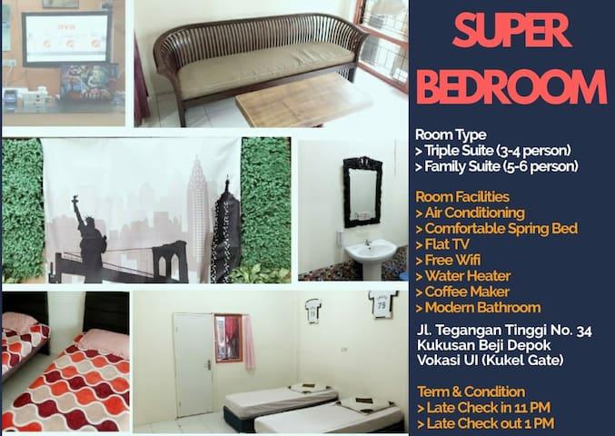 SUPERoom E for 4 guest with AC, TV, Sofa, FreeWifi