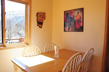 Eating area of kitchen with nice view of Boulder Mountain.