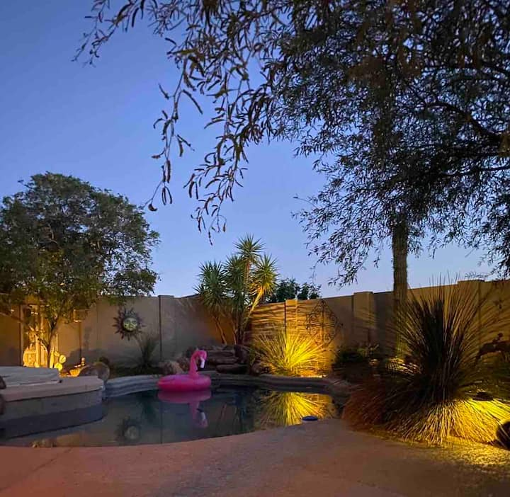 Upscale Desert Oasis resort yard Pool Spa Misters