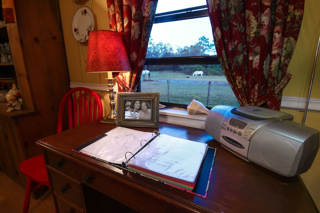 Desk overlooking the horse pasture