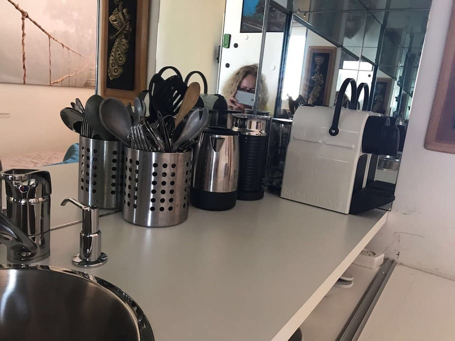 Kitchenette with Nespresso Machine and milk foam maker