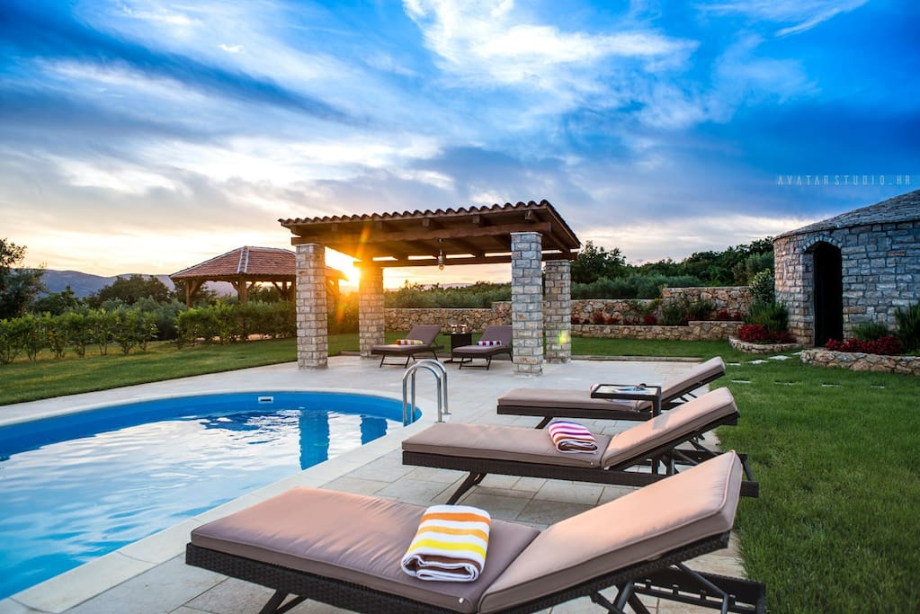 Beautiful sunsets poolside