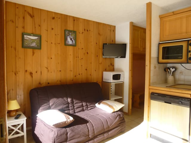 separate cabin with double bed and large terrace