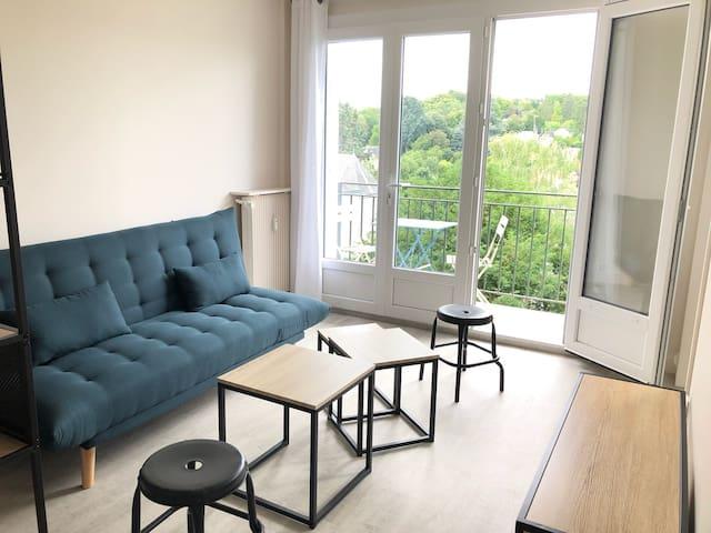 Studio moderne très lumineux balcon et vue dégagée