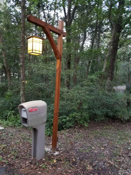 Look for our custom street lamp at the driveway entrance.