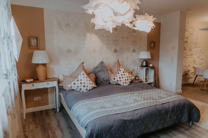 Helles Schlafzimmer mit TV und Infrarot Wärme- Kabine