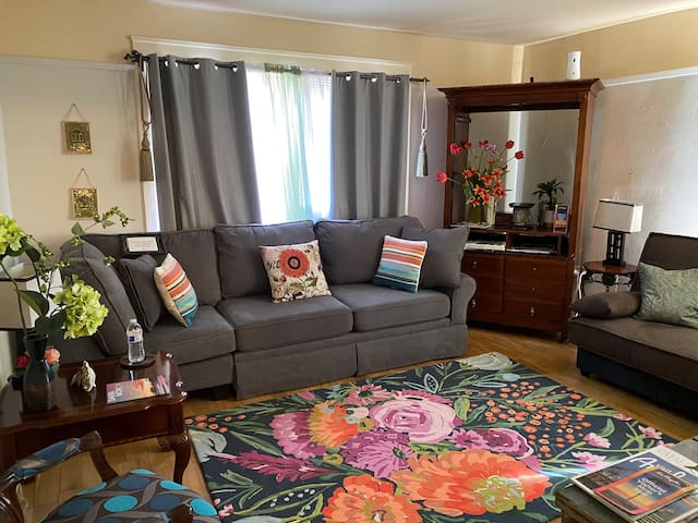 LIVING ROOM:   LAPTOP FRIENDLY WORKSPACE WITH Wireless INTERNET ACCESS.  Ideal for Remote Working & for Business Travelers.   NOTE:  Gray Sofa IN LIVING ROOM is a pull- out bed with a full size mattress.