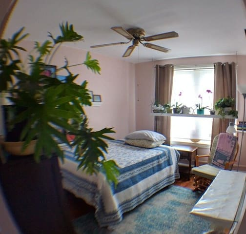 #2 full size bed, airy room, private and clean.