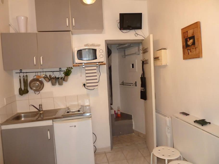coin cuisine avec micro onde, réfrigérateur, plaques électriques