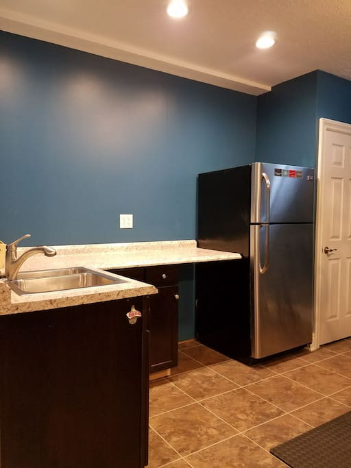 Basement kitchenette with dishes, microwave, sink and fridge