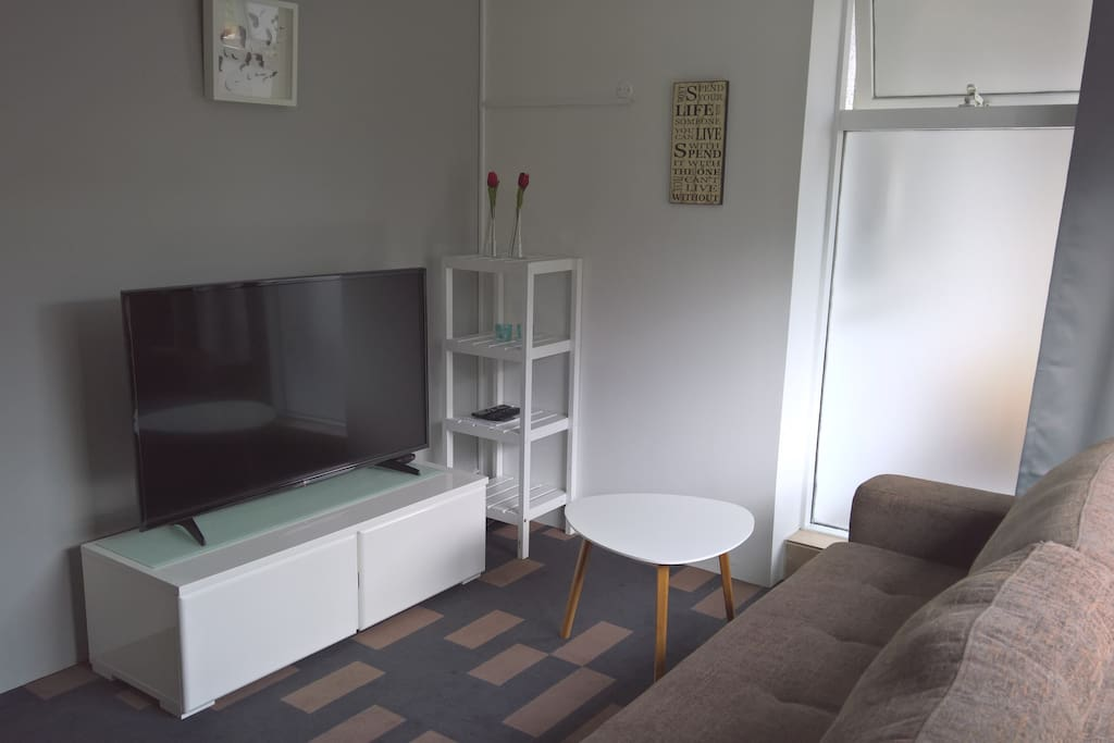A small but lovely living room with a large TV (where you can access Netflix)