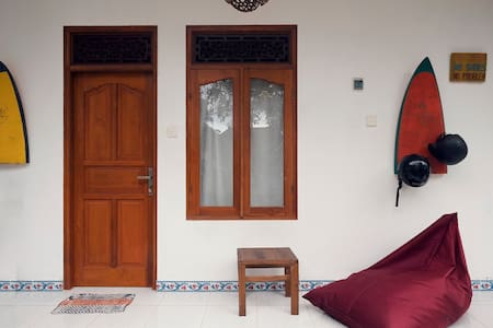 2 Angels Homestay - Room entrance. You can relax or work on this comfortable bean bags