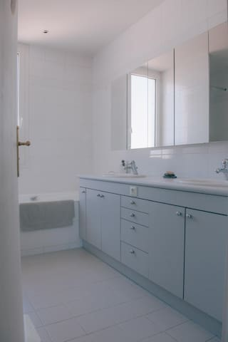 Salle de bain - double vasque avec douche et baignoire