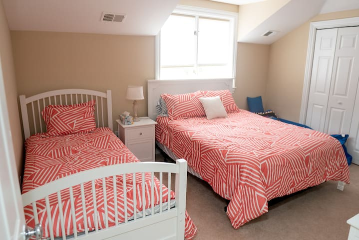 Bedroom 5 connects to a Jack and Jill bath and it has a queen bed with a twin trundle bed(2 twin bed mattresses) plus a toddler childs bed