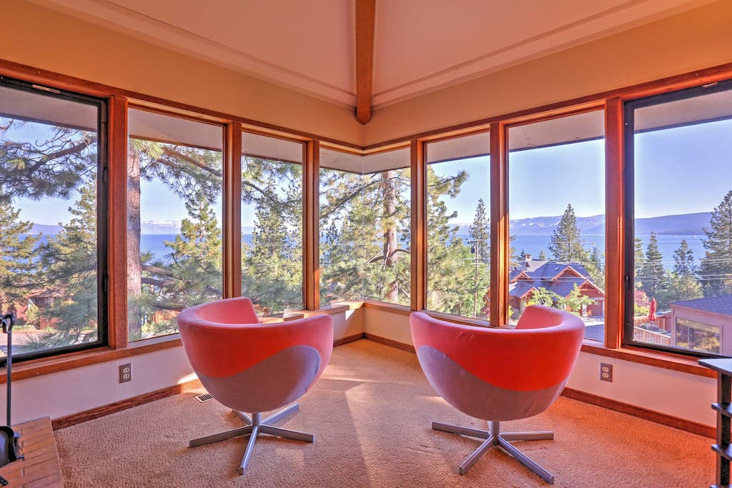 Floor-to-ceiling windows line the home's interior to provide each room with a spectacular view.