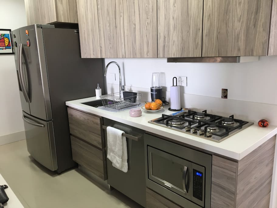 Brand new kitchen - double door refrigerator, dishwasher, microwave, gas oven and all appliances. Excellent space.