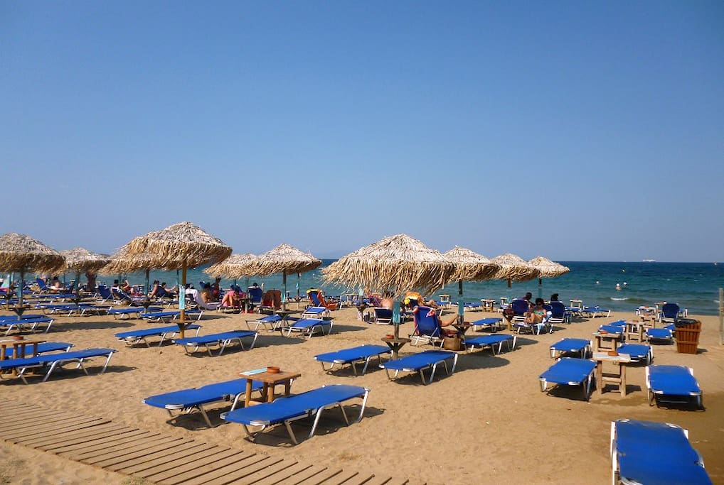 The beach is 2 minutes walk from the apartment!