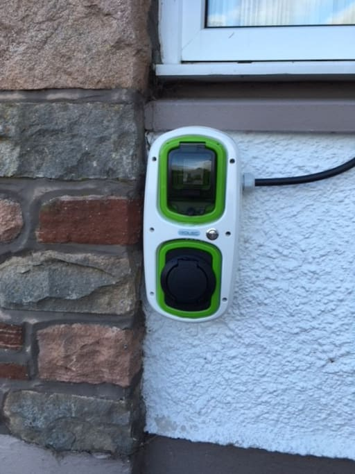 Electric car charger at main house for use of guests