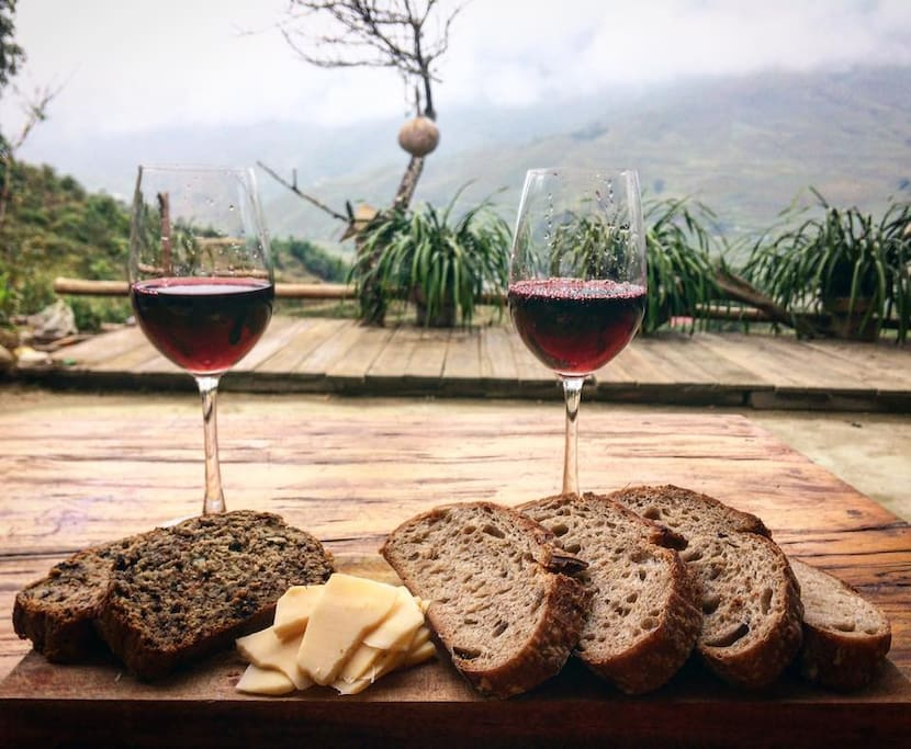 wine and sourdough bread for a rainy day