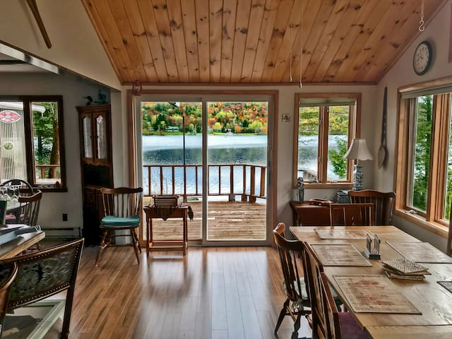 The newest addition to the house, this lovely rustic dining room overlooks Lake Chateaugay, making it an ideal setting for leaf peeping season!