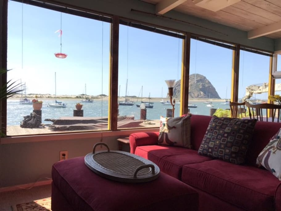 Living room with a view of the bay.
