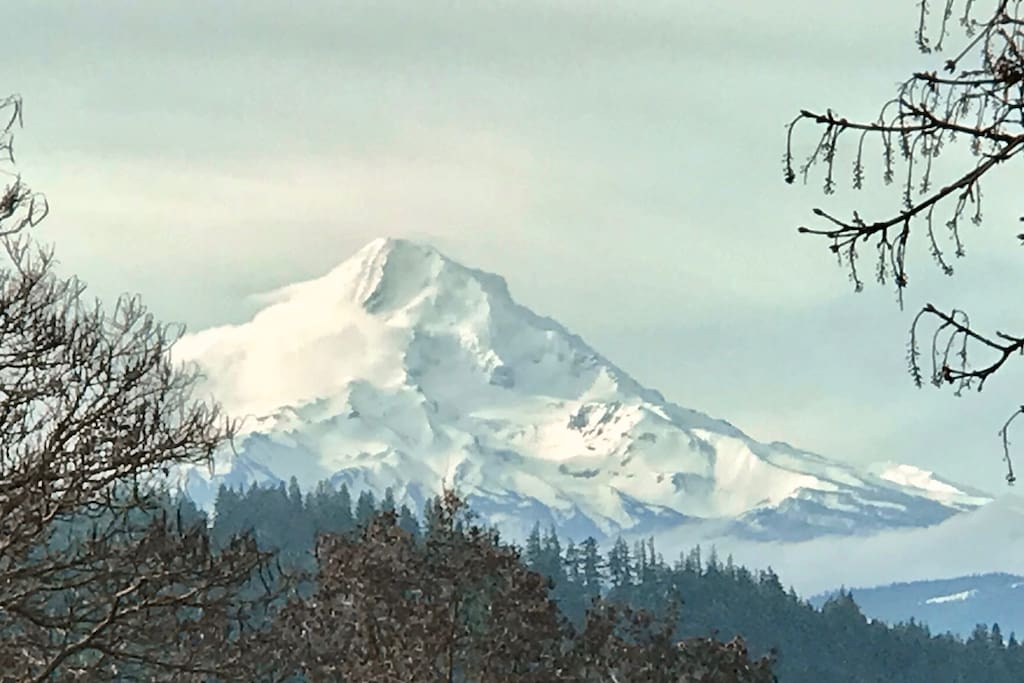 Mt Hood during winter from Master Bedroom
