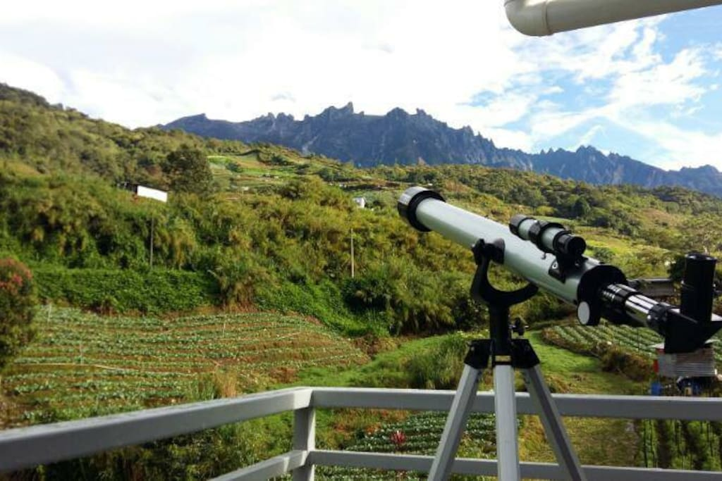 private balcony with mountain view. (Telescope not provided)