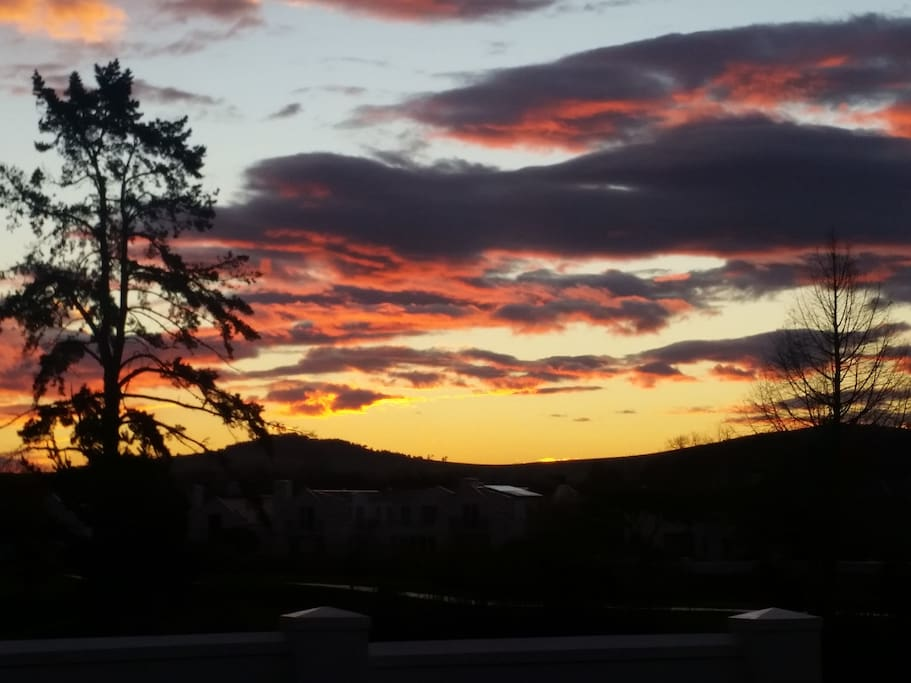 Spectacular sunsets from the rear patio of the house