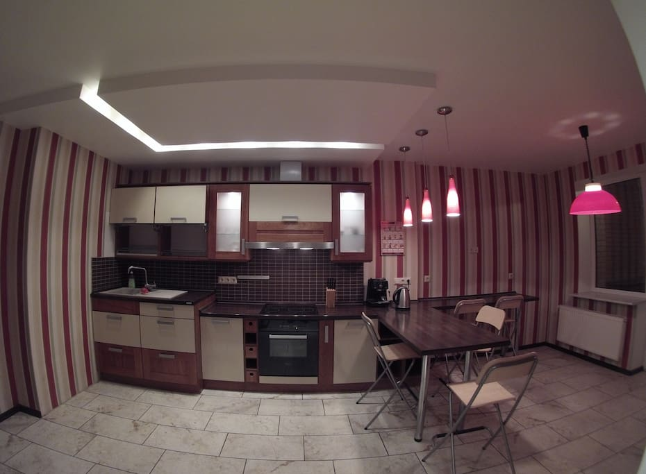 Large kitchen with balcony