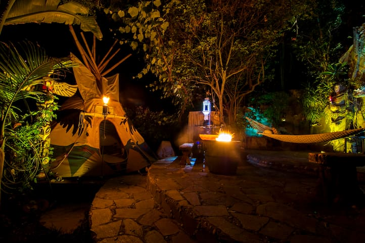 Teepee at Night with Patio, Firepit & Hammock