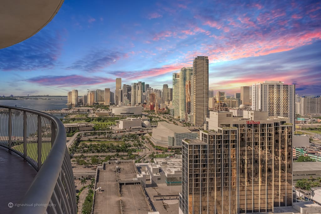Downtown Miami with views of AAA Arena and Arscht Center for Arts