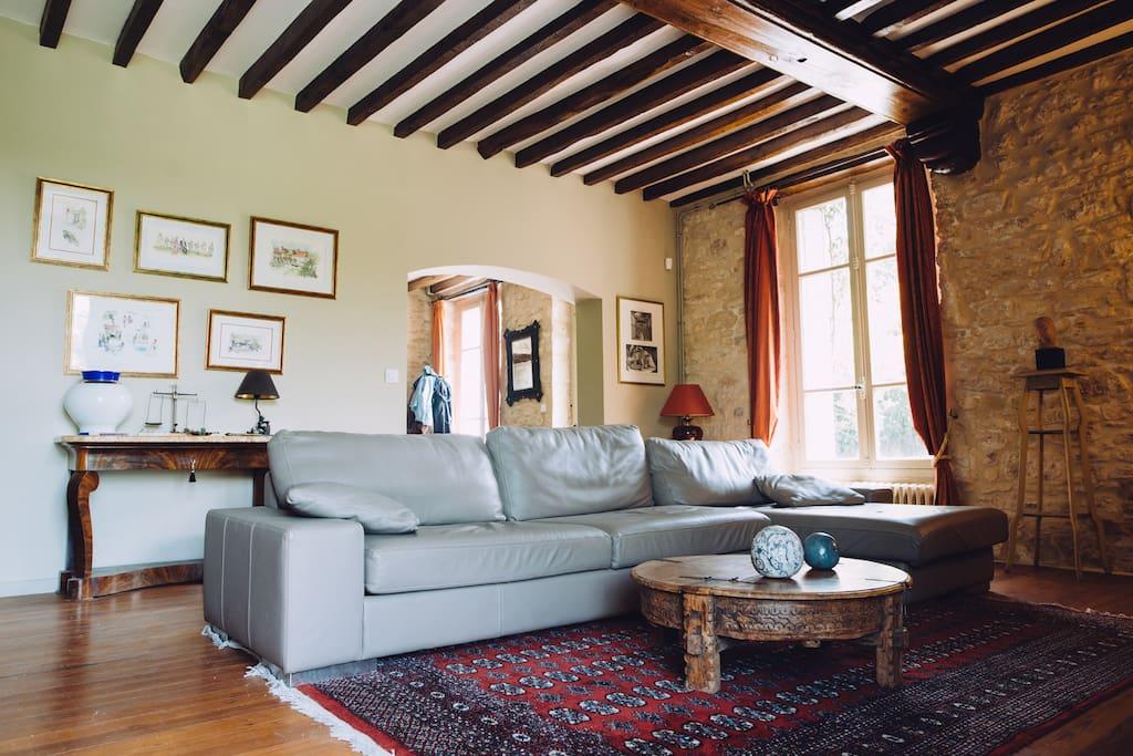 le salon avec une cheminée