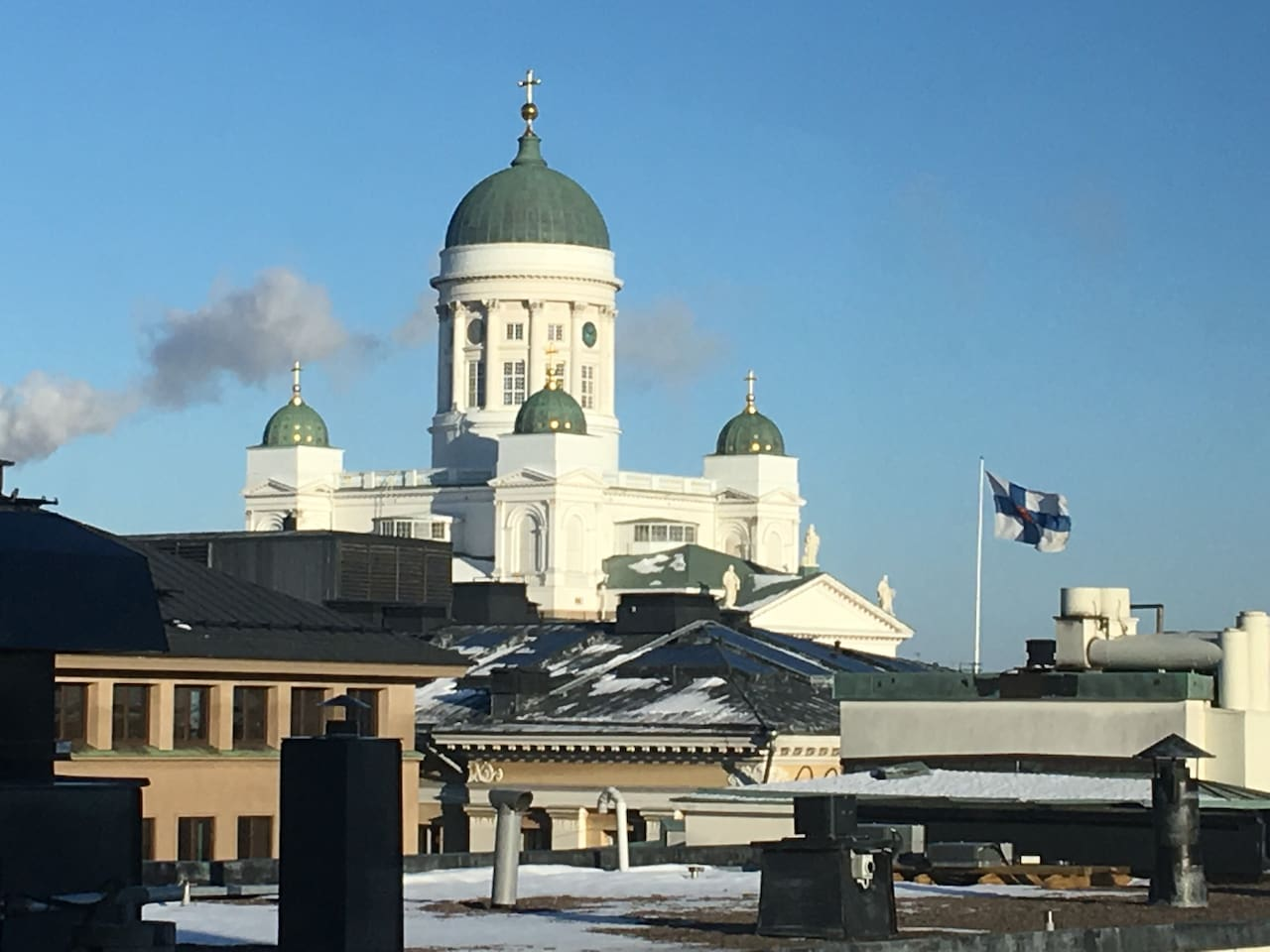 Welcome to Helsinki. You will be 10 minute tram ride from the center.
