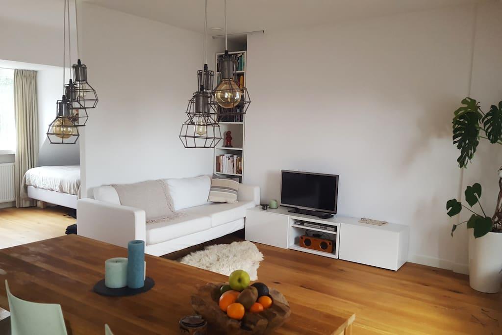Spacious living room with open access to bedroom