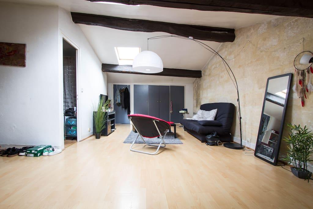 Salon vue espace chambre