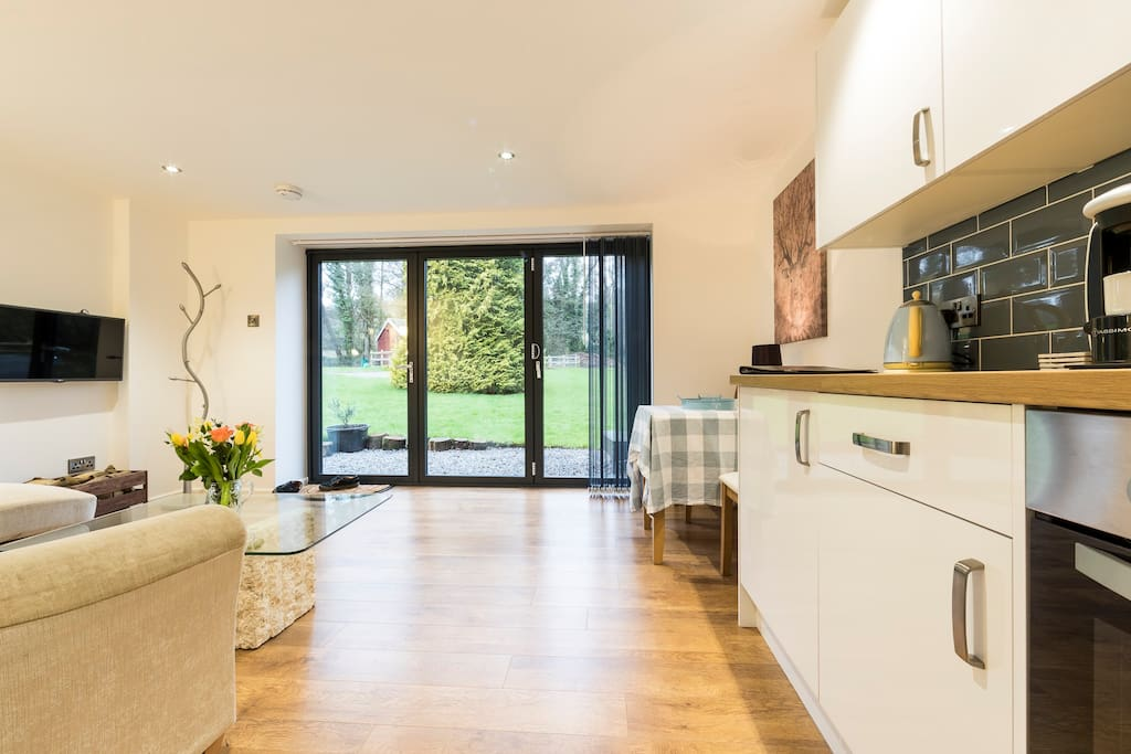 Large bi-fold doors, letting the outside in