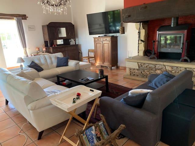 Salon tout confort avec 1 grand canapé 3 place, 2 canapé 2 places, feu ouvert