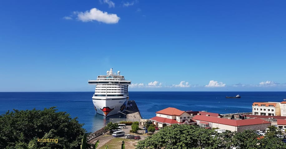 A cruise liner in the Grenada Harbour.
