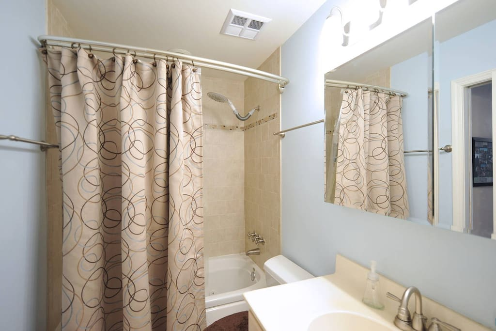 A newly remodeled full bathroom.